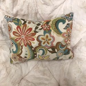 Multi Colored Floral And Striped Pillow